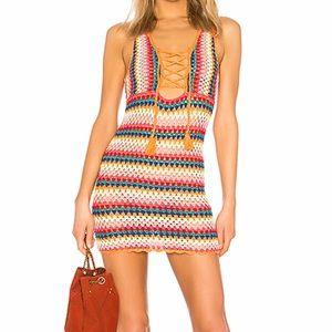 Lovers + friends rainbow crochet dress small